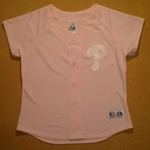 Vintage Phillies Women's Pink Jersey - Size: M